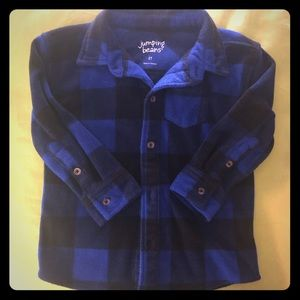 Boys Blue Plaid Flannel Shirt